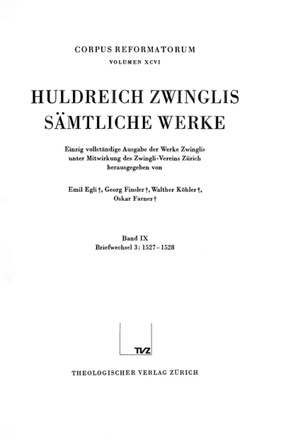 Cover Briefwechsel Band 3: 1527–1528