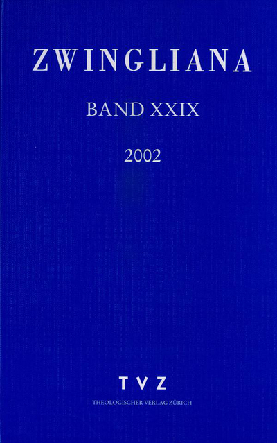 Cover Zwingliana Band 29: Jg. 2002