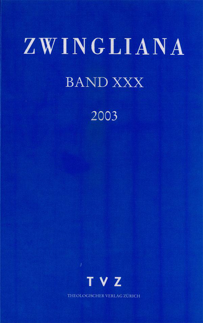 Cover Zwingliana Band 30: Jg. 2003
