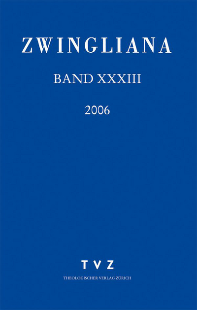 Cover Zwingliana Band 33: Jg. 2006
