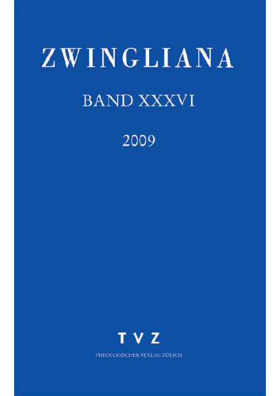 Cover Zwingliana Band 36: Jg. 2009
